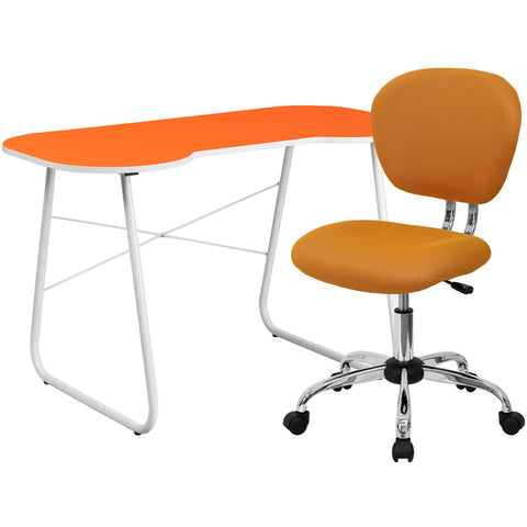 Flash Furniture NAN-14-GG Orange Computer Desk and Mesh Chair - Peazz.com