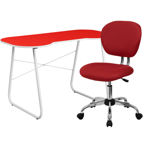 Flash Furniture NAN-16-GG Red Computer Desk and Mesh Chair - Peazz.com