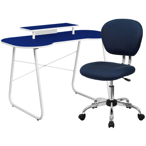 Flash Furniture NAN-3-GG Navy Computer Desk with Monitor Stand and Mesh Chair - Peazz.com