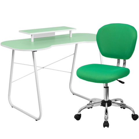 Flash Furniture NAN-4-GG Green Computer Desk with Monitor Stand and Mesh Chair - Peazz.com