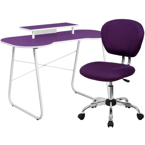 Flash Furniture NAN-5-GG Purple Computer Desk with Monitor Stand and Mesh Chair - Peazz.com
