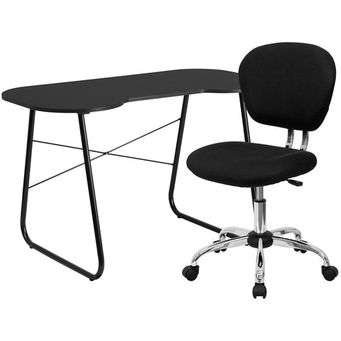 Flash Furniture NAN-9-GG Black Computer Desk and Mesh Chair - Peazz.com