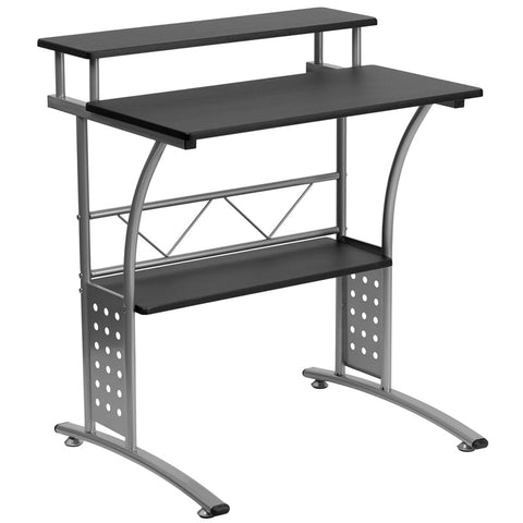 Flash Furniture NAN-CLIFTON-BK-GG Clifton Black Computer Desk - Peazz.com