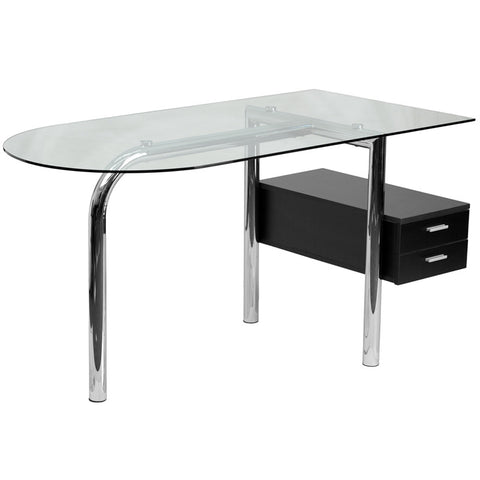 Flash Furniture NAN-JN-2118-GG Glass Computer Desk with Two Drawer Pedestal - Peazz.com