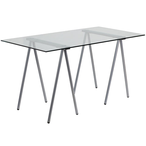 Flash Furniture NAN-JN-2119-GG Glass Computer Desk with Silver Frame - Peazz.com