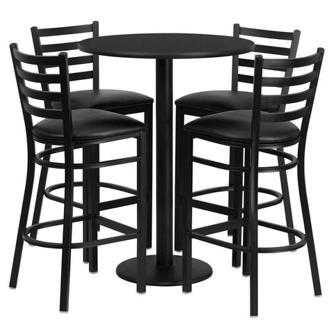 Flash Furniture RSRB1021-GG 30'' Round Black Laminate Table Set with 4 Ladder Back Metal Bar Stools - Black Vinyl Seat - Peazz.com