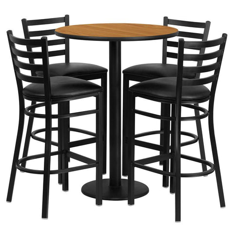 Flash Furniture RSRB1023-GG 30'' Round Natural Laminate Table Set with 4 Ladder Back Metal Bar Stools - Black Vinyl Seat - Peazz.com