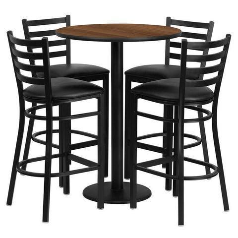 Flash Furniture RSRB1024-GG 30'' Round Walnut Laminate Table Set with 4 Ladder Back Metal Bar Stools - Black Vinyl Seat - Peazz.com
