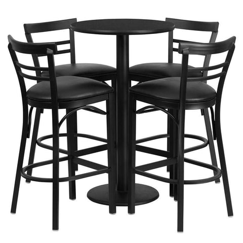 Flash Furniture RSRB1033-GG 24'' Round Black Laminate Table Set with 4 Ladder Back Bar Stools - Black Vinyl Seat - Peazz.com