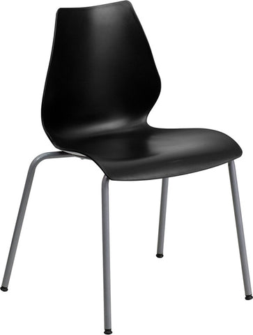 Flash Furniture RUT-288-BK-GG HERCULES Series 770 lb. Capacity Black Stack Chair with Lumbar Support and Silver Frame - Peazz.com