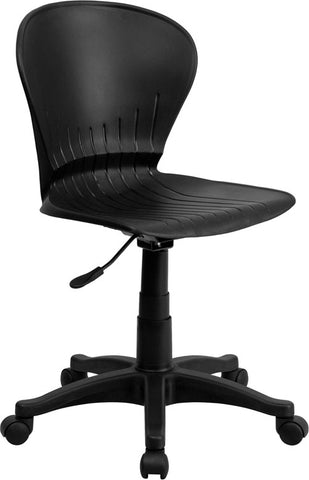 Flash Furniture RUT-A103-BK-GG Mid-Back Black Plastic Swivel Task Chair - Peazz.com