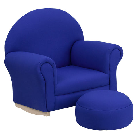 Flash Furniture SF-03-OTTO-BLUE-GG Kids Blue Fabric Rocker Chair and Footrest - Peazz.com