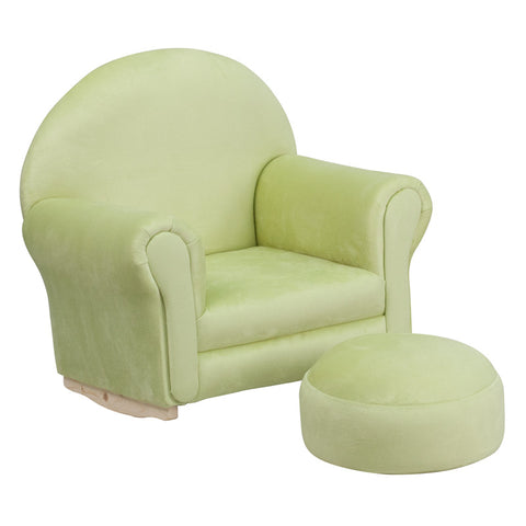 Flash Furniture SF-03-OTTO-MIC-GRN-GG Kids Green Microfiber Rocker Chair and Footrest - Peazz.com