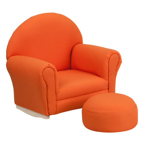 Flash Furniture SF-03-OTTO-ORG-GG Kids Orange Fabric Rocker Chair and Footrest - Peazz.com