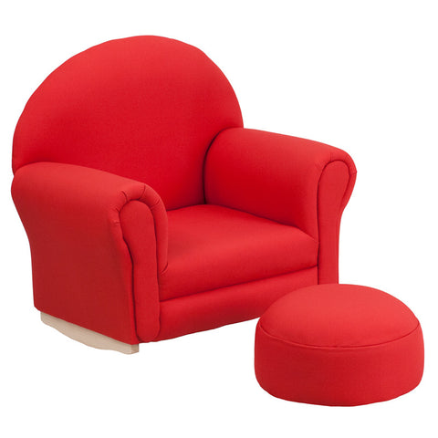 Flash Furniture SF-03-OTTO-RED-GG Kids Red Fabric Rocker Chair and Footrest - Peazz.com