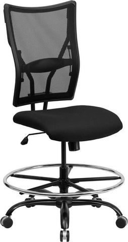 Flash Furniture WL-5029SYG-D-GG HERCULES Series 400 lb. Capacity Big & Tall Black Mesh Drafting Stool - Peazz.com