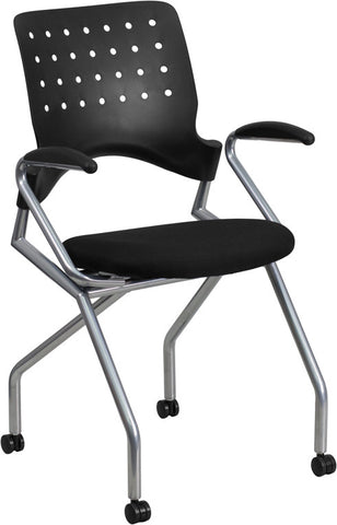 Flash Furniture WL-A224V-A-GG Galaxy Mobile Nesting Chair with Arms and Black Fabric Seat - Peazz.com