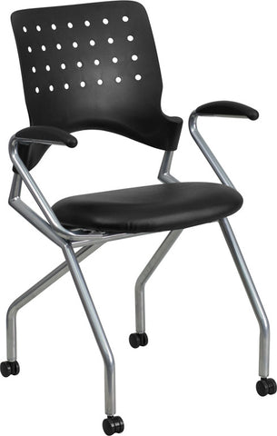 Flash Furniture WL-A224V-LEA-A-GG Galaxy Mobile Nesting Chair with Arms and Black Leather Seat - Peazz.com
