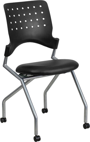 Flash Furniture WL-A224V-LEA-GG Galaxy Mobile Nesting Chair with Black Leather Seat - Peazz.com