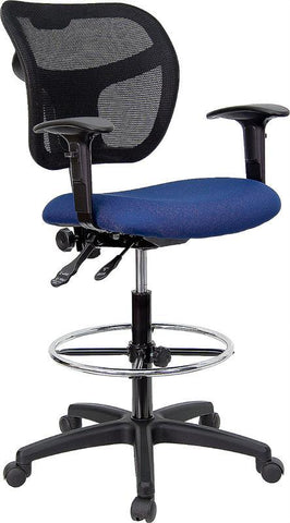 Mid-Back Mesh Drafting Stool with Navy Blue Fabric Seat and Arms WL-A7671SYG-NVY-AD-GG by Flash Furniture - Peazz.com