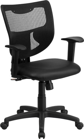 Flash Furniture WL-F061SYG-LEA-A-GG Galaxy Mid-Back Designer Back Task Chair with Adjustable Height Arms and Padded Leather Seat - Peazz.com
