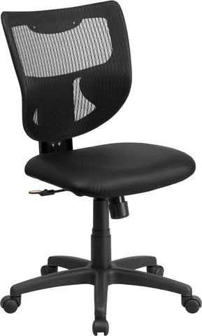 Flash Furniture WL-F061SYG-LEA-GG Galaxy Mid-Back Designer Back Task Chair with Padded Leather Seat - Peazz.com