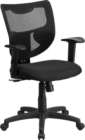 Flash Furniture WL-F061SYG-MF-A-GG Galaxy Mid-Back Designer Back Task Chair with Adjustable Height Arms and Padded Fabric Seat - Peazz.com