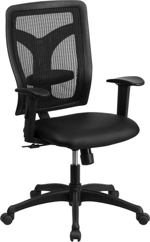 Flash Furniture WL-F062SYG-LEA-A-GG Galaxy High Back Designer Back Task Chair with Adjustable Height Arms and Padded Leather Seat - Peazz.com