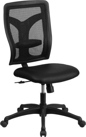 Flash Furniture WL-F062SYG-LEA-GG Galaxy High Back Designer Back Task Chair with Padded Leather Seat - Peazz.com