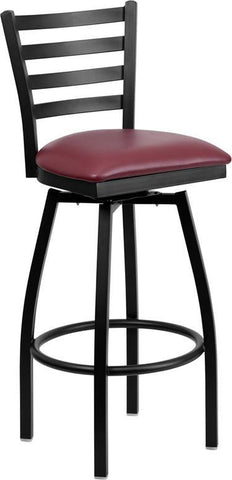Flash Furniture XU-6F8B-LADSWVL-BURV-GG HERCULES Series Black Ladder Back Swivel Metal Bar Stool - Burgundy Vinyl Seat - Peazz.com