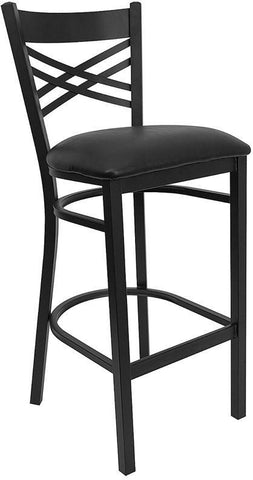 HERCULES Series Black ''X'' Back Metal Restaurant Bar Stool with Black Vinyl Seat XU-6F8BXBK-BAR-BLKV-GG by Flash Furniture - Peazz.com
