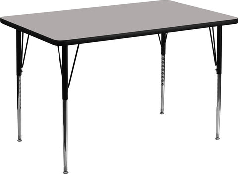 30''W x 48''L Rectangular Activity Table with 1.25'' Thick High Pressure Grey Laminate Top and Standard Height Adjustable Legs XU-A3048-REC-GY-H-A-GG by Flash Furniture - Peazz.com