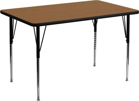 30''W x 48''L Rectangular Activity Table with Oak Thermal Fused Laminate Top and Standard Height Adjustable Legs XU-A3048-REC-OAK-T-A-GG by Flash Furniture - Peazz.com