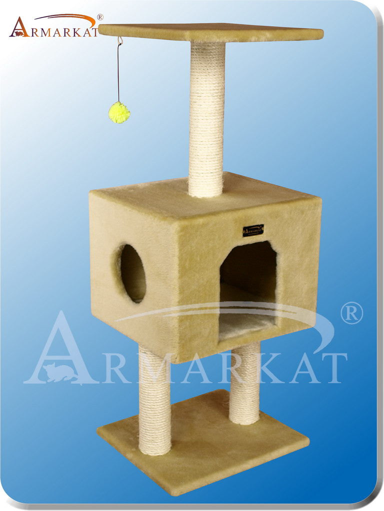 "Armarkat A4201 Faux Fur Pressed Wood 3"" Diameter Post Cat Tree 16"" L X 14"" W X 42"" H - Beige"