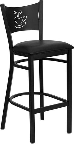 HERCULES Series Black Coffee Back Metal Restaurant Bar Stool with Black Vinyl Seat XU-DG-60114-COF-BAR-BLKV-GG by Flash Furniture - Peazz.com