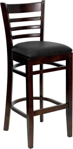 HERCULES Series Walnut Finished Ladder Back Wooden Restaurant Bar Stool with Black Vinyl Seat XU-DGW0005BARLAD-WAL-BLKV-GG by Flash Furniture - Peazz.com