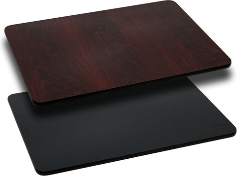 24'' x 30'' Rectangular Table Top with Black or Mahogany Reversible Laminate Top XU-MBT-2430-GG by Flash Furniture - Peazz.com
