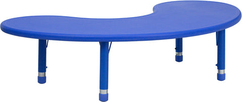 35''W x 65''L Height Adjustable Half-Moon Blue Plastic Activity Table YU-YCX-004-2-MOON-TBL-BLUE-GG by Flash Furniture - Peazz.com