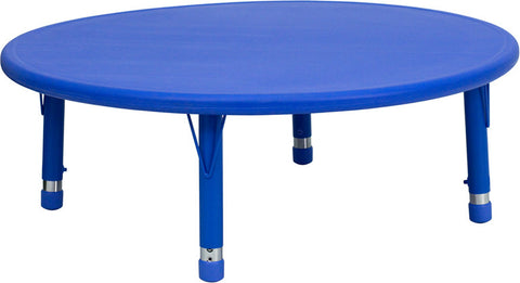 45'' Round Height Adjustable Round Blue Plastic Activity Table YU-YCX-005-2-ROUND-TBL-BLUE-GG by Flash Furniture - Peazz.com