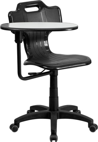 Flash Furniture YU-YCX-032-GG Black Mobile Task Chair with Swivel Tablet Arm - Peazz.com