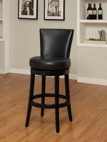 "Armen Living 30"" LC4044BABL30 Boston Swivel Barstool in Black Bicast Leather - BarstoolDirect.com"
