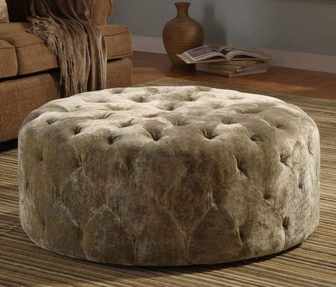 "Victoria 40"" Round Moss Green Ottoman by Armen Living - Peazz.com"