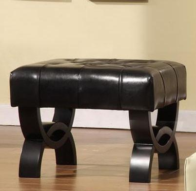 "Central Park 24"" Tufted Black Leather Ottoman  by Armen Living - Peazz.com"