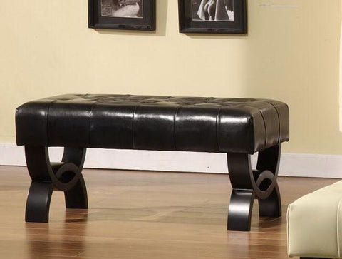 "Central Park 36"" Tufted Black Leather Ottoman  by Armen Living - Peazz.com"