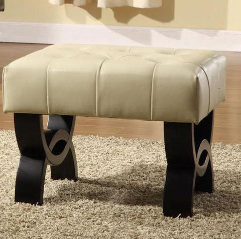 "Central Park 24"" Tufted Cream Leather Ottoman  by Armen Living - Peazz.com"