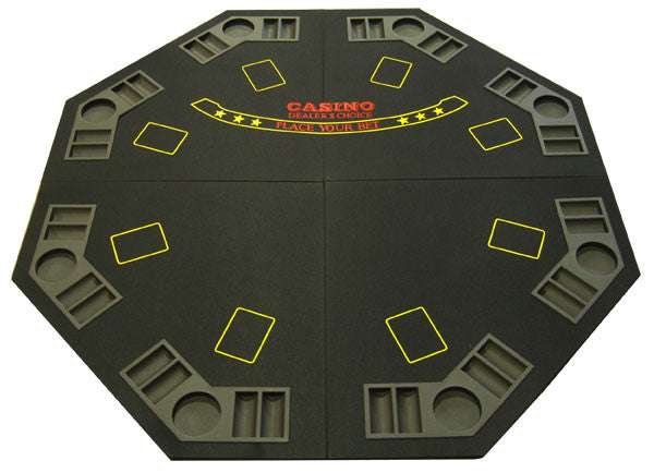 Black 4-Fold Octagon Poker/Blackjack Table Top