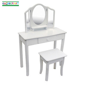 Guidecraft Classic White Vanity and Stool - Peazz.com