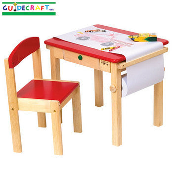Guidecraft Art Table & Chair Set - Red - Peazz.com