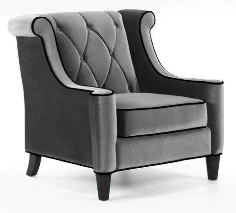 Barrister Chair Gray Velvet/Black Piping by Armen Living - Peazz.com