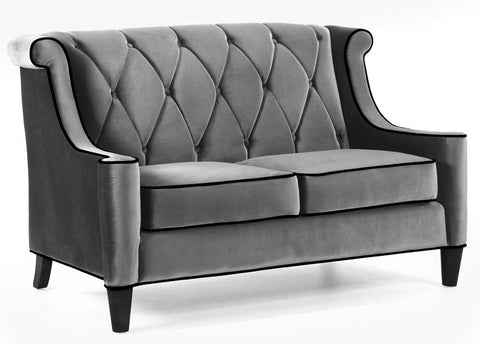 Barrister Loveseat Gray Velvet/Black Piping by Armen Living - Peazz.com